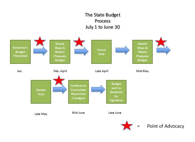 Massachusetts State Budget Process, including points of advocacy